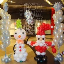 Снеговик, Санта и букеты из шаров