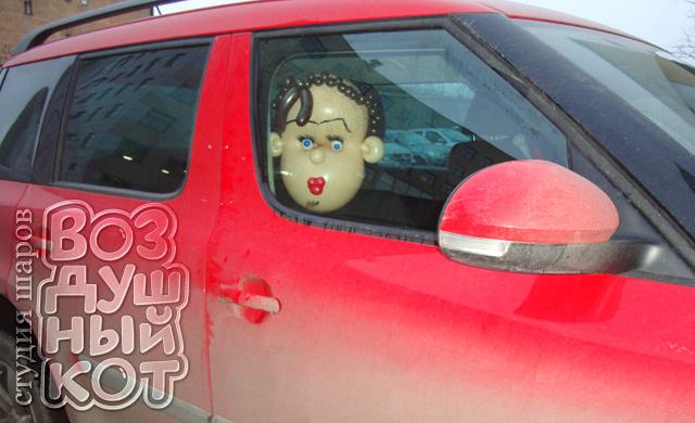 Голова в красном авто